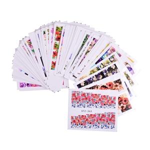 Image 3 - 48 個 Flwoer のデザイン爪ステッカー混合カラフルな花フル箔ポーランド DIY 透かしツールネイルアートステッカー TRSTZ352 391