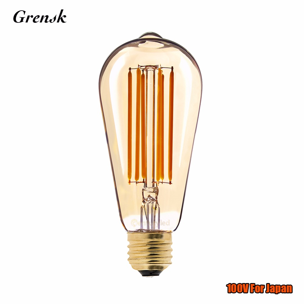 For Japan,Edison ST64 Lamp,Gold Tint,6W,Vintage LED Filament Light Bulb,Super Warm 2200K,E26 100VAC,Decorative Lighting,Dimmable