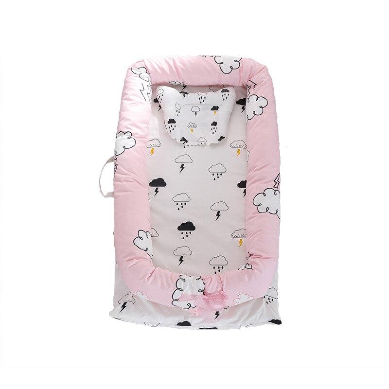 Ensembles de berceau de bébé avec oreiller pur coton nid de bébé voyage berceau lit berceau lits pour nouveau-nés Portable lavable - 5