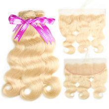 613 Bundles With Frontal Blonde Body Wave Bundles With Closure Remy Brazilian Hair Weave Bundles With Frontal Transparent Lace(China)
