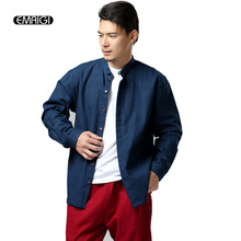 Men Casual Shirts Loose Long Sleeve Stand Collar Shirt Coat Male High Quality Linen Solid Color Shirts Outerwear Chemise Homme