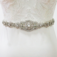 Vintage Crystal Flower Bridal Sash Belt Rhinestone Beaded Wedding Belt For Bridal Gown New Arrival Royal Wedding Decorations