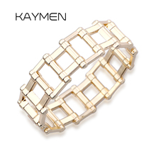 Hot Selling Unisex Punk Style Geometric Golden Bangle Cuff Bracelet Chains Charm Chunky Statement Bangle Party Jewelry BR-03278 все цены