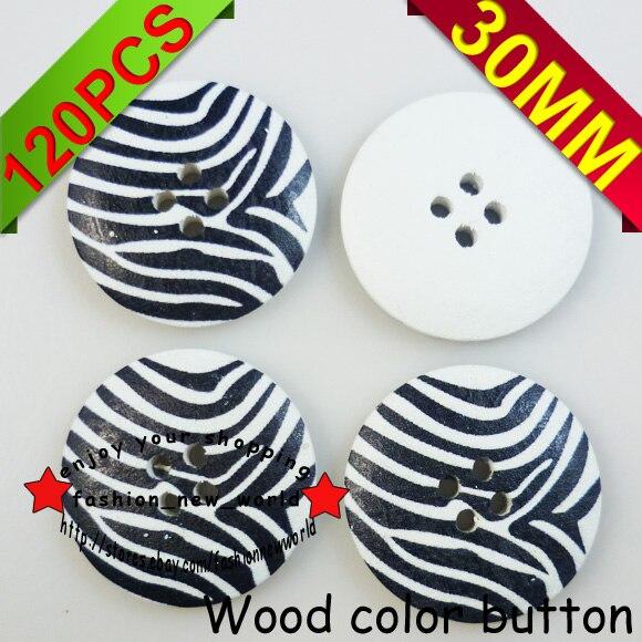 ①120 unids 30mm tira cebra patrón de madera del botón de costura de ...