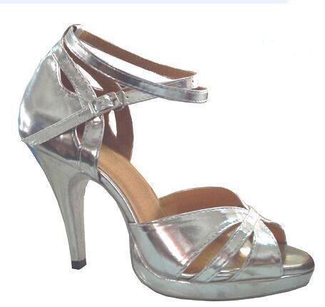 daa98e9cd4c6 New Women Silver Leather Platform Salsa Samba Ballroom Tango Dance Shoes  Latin Dance Dancing Shoes ALL Size