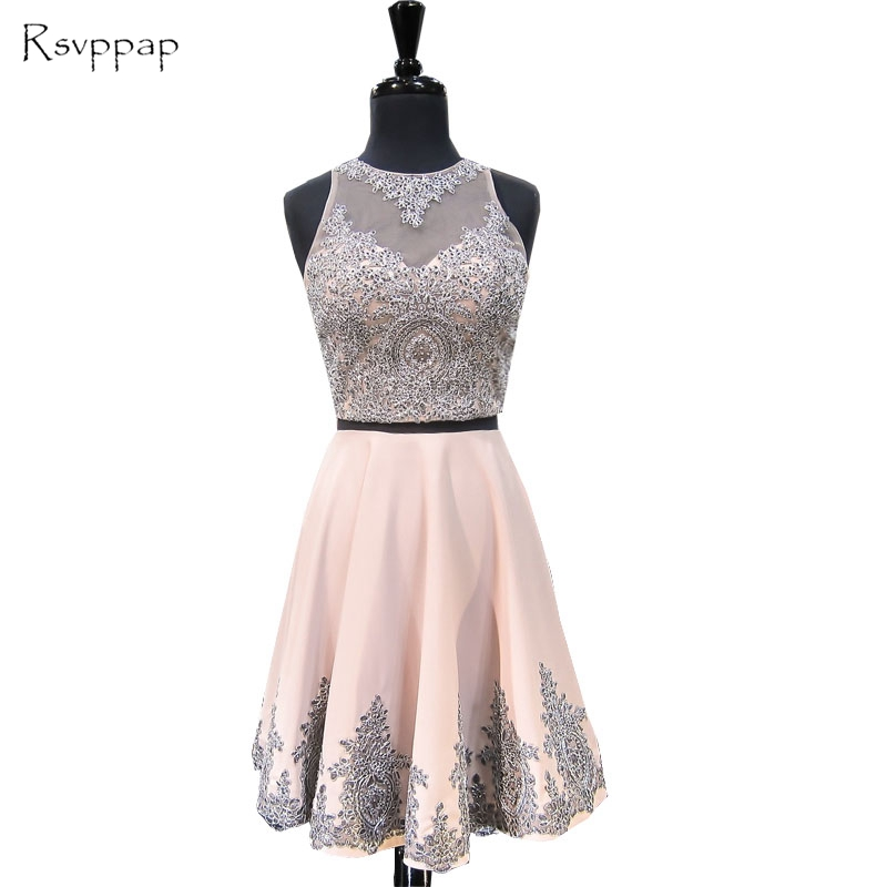 Sweet 8th Grade Prom Dress A-line Scoop Neckline Beaded Lace Short Two Piece Sweet 16 Homecoming Dresses 2017