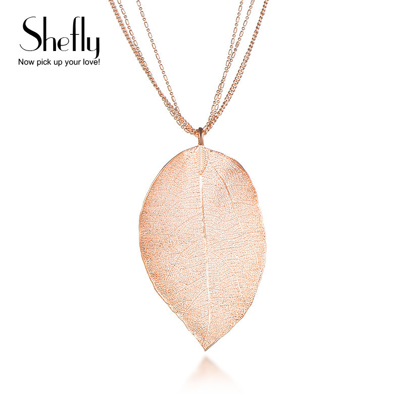 Shefly Fashion Women Jewelry Natural True Leaf Pendants Ladies Rose Gold Color Necklaces With Real Leaves Of Material