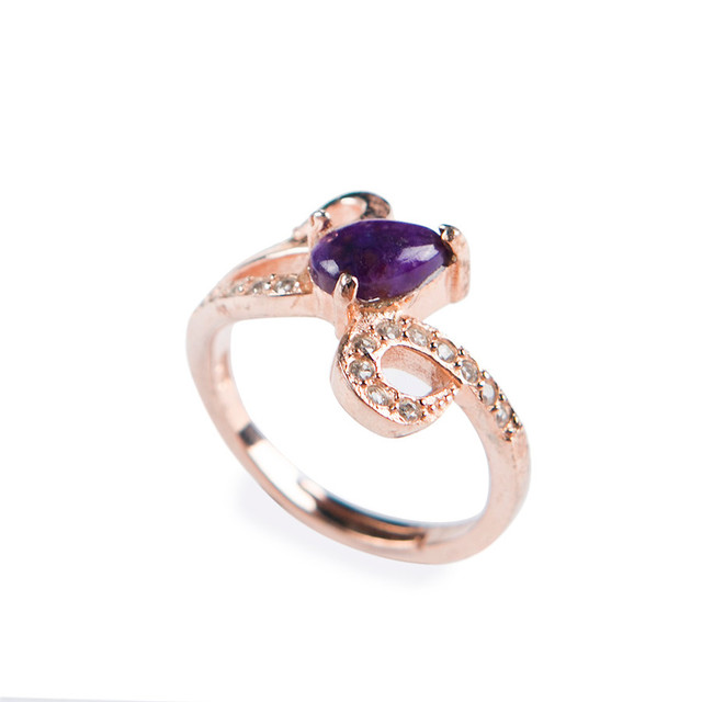 Adjuestable Natural sugilite Purple Crystal Stone Beads Fashion Women Sliver Unique Ring