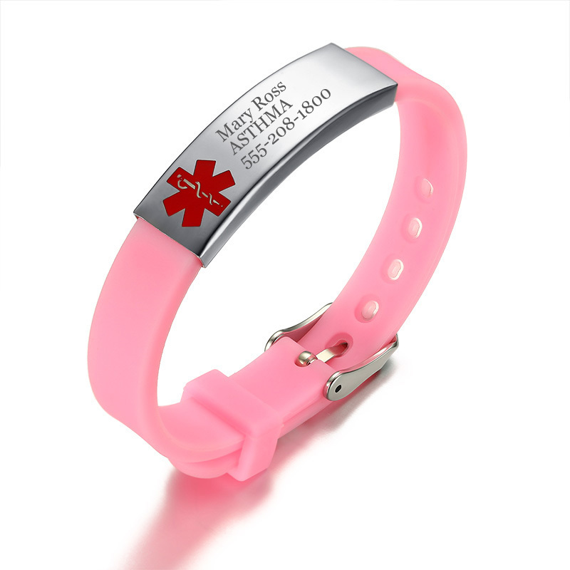 Kid's SOS Emergency Medical Awareness ID Tag Bracelet with Pink Silicone Rubber Bangle Personlized Name ID Symbol Teen's Jewelry