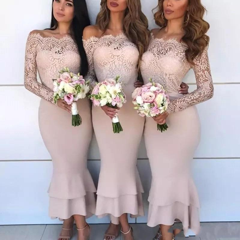 vestido de festa longo Lace Long Sleeve Mermaid Wedding Guest party prom gown Maid of Honor Cheap Sexy   Bridesmaid     Dresses