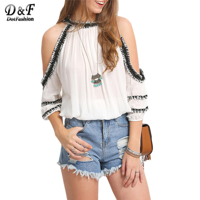 Woman Summer Off Shoulder Tops Female Blusas Sexy Feminina Blouses 2016 Shirt White Rayon Crochet Trim Cold Shoulder Blouse