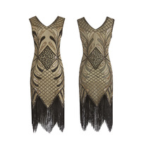 2019 New Ladies Dress Fashion Sexy Round Neck Sleeveless Party Dress Peacock Sequined Mesh Long Dresses
