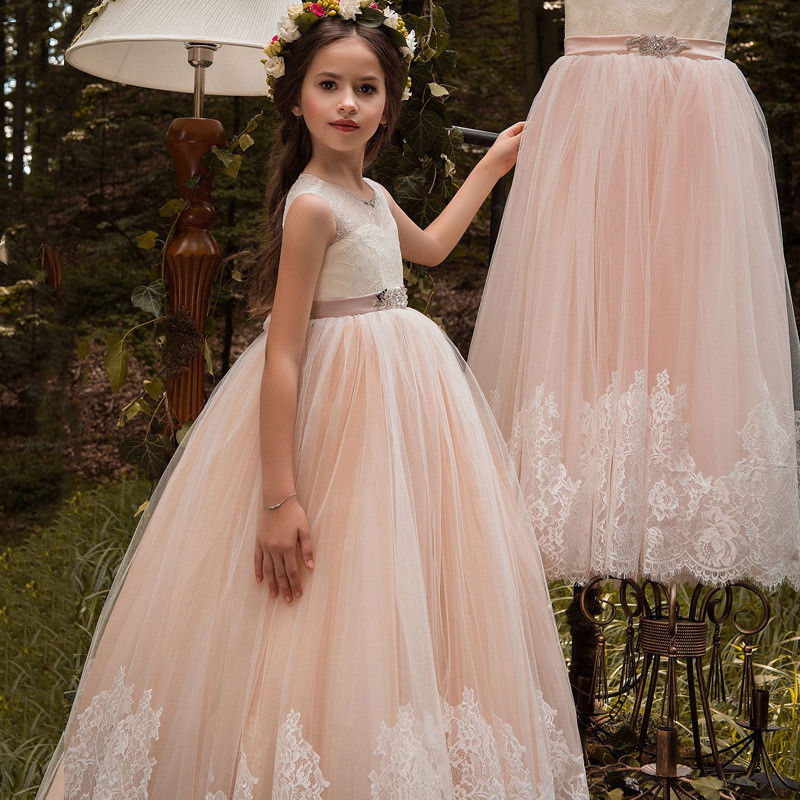Vintage   Flower     Girl     Dresses   For Weddings Lace Bow Kids First Communion Gown