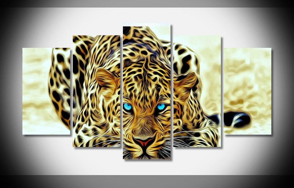 6594 fractal leopardo cartel inicio decoración del arte enmarcado impresión en lona estirada impresiones Sala HD caliente