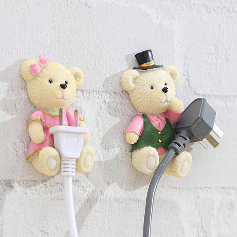 Creative Bear Strong Self Adhesive Wall Storage Hook Hanger Cartoon Kitchen Outlet Plug Holder Keys Sticky Towel Organizer