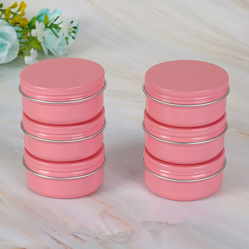 Купить с кэшбэком Pink 5g 10g 15g 30g 50g 60g Aluminum Jars Lip Balm Pot Skin Care Cream Eyeshadow Lip Liquid Base Foundation Container Tins 50pcs