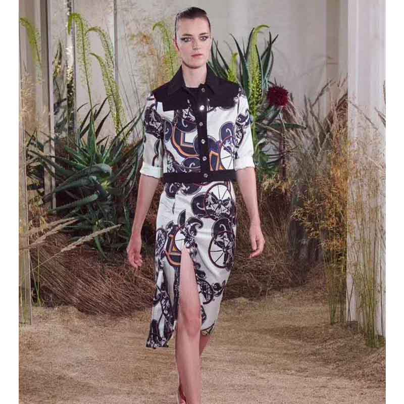 Cosmicchic Women Long Sleeve Short Coat High Quality Black Wheel Print Jacket Runway Fashion Stitching Silk Designer Jacket