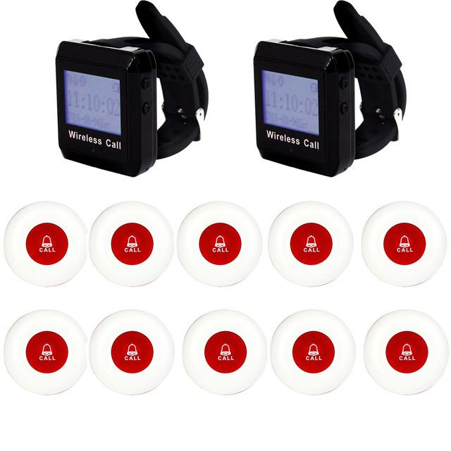 Restaurante sem fio Pager Coaster Sistema Receptor de Pulso Host + Botão de Espera Dos Visitantes Pager para Restaurante Café Bar 433 MHz F3258