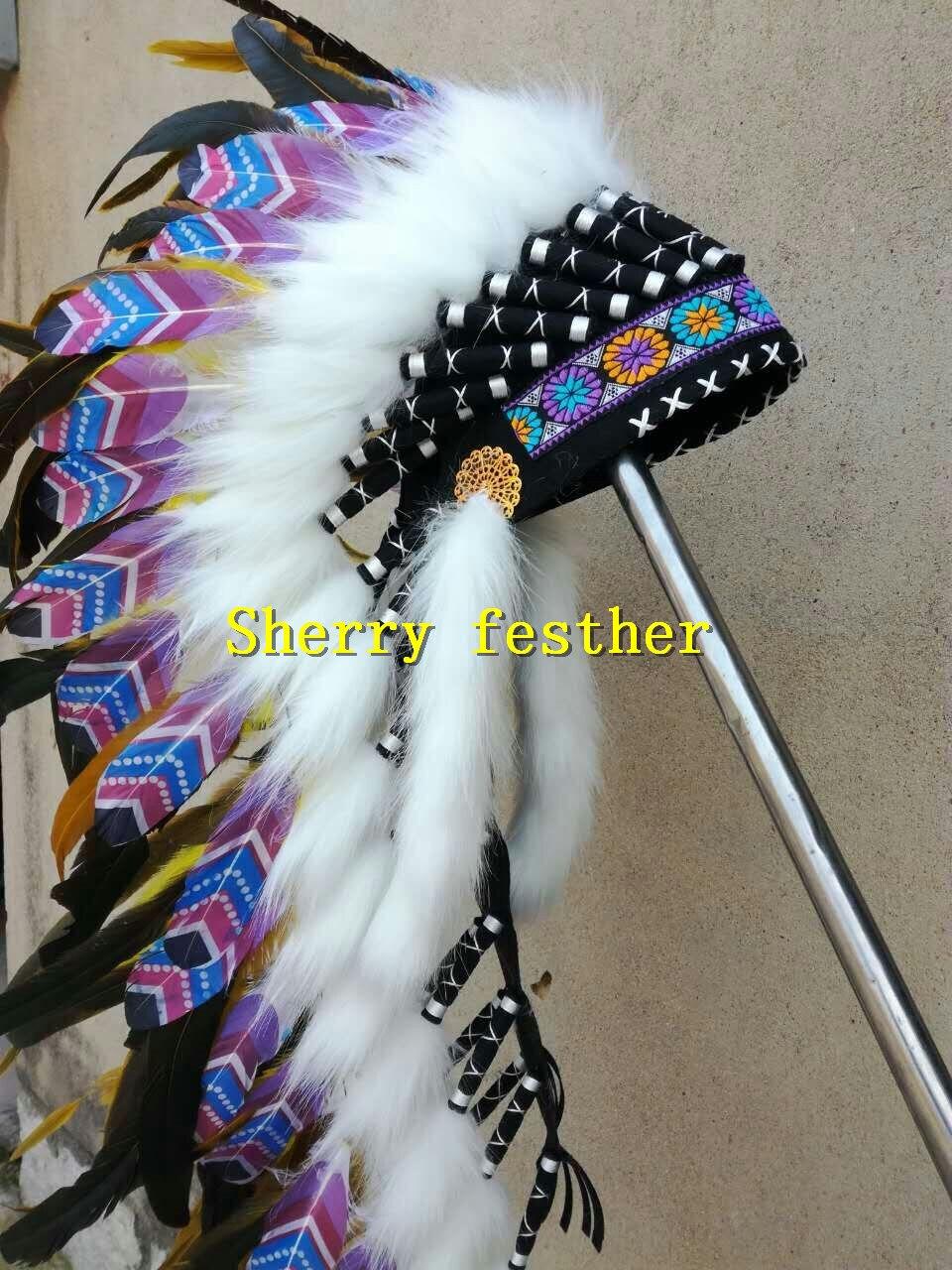 28inch 오렌지 깃털 머리 장식 머리띠 할로윈 깃털 모자 의상 파티 의상-에서깃털부터 홈 & 가든 의  그룹 2