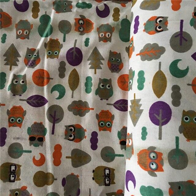 GROßE LY 50x150 cm Baumwolle Leinen Druck Eulen Baum Blatt Mond DIY ...