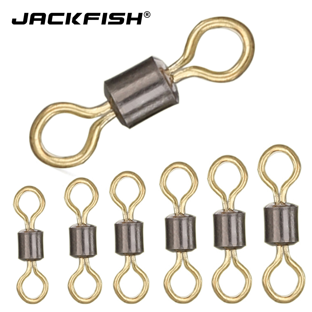 JACKFISH Fishing Connector Copper Swivel 50pcs/lot Color 8 Word Ball Bearing Swivel Solid Rings Fishing Gear Fishing Accessories