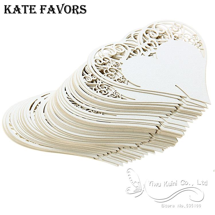 Wedding Table Decoration Place Cards/Wedding Party Decoration Laser Cut Heart Floral Wine Glass Place Cards