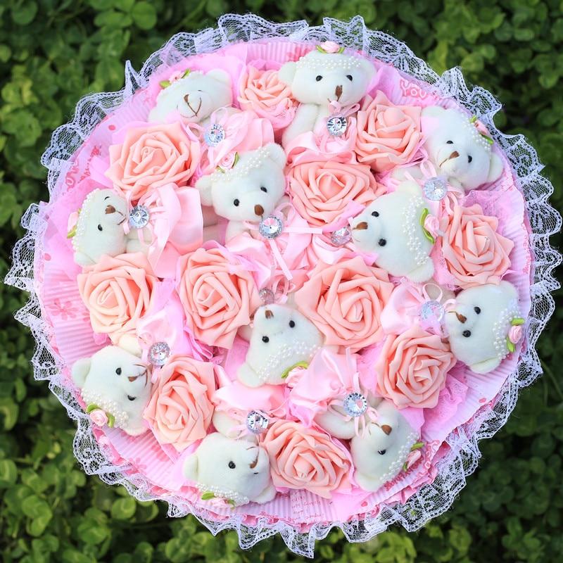 Creative Cartoon Bouquet Stuffed Animal Plush Toys Teddy Bear+fake Roses Wedding Decor Valentines' Day Gifts Holding Flower