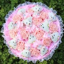 Fashion Creative Cartoon Bouquet Stuffed Animal Plush Toys Teddy Bear Birthday Valentine's Day Graduation Gifts