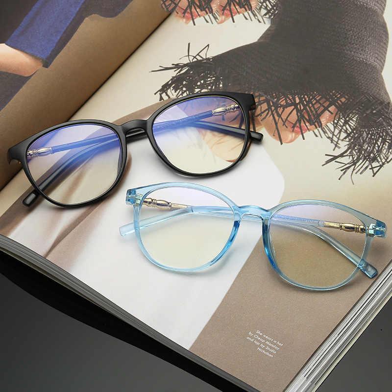 Óculos de computador redondo unissex vintage feminino óculos transparentes moldura dos homens anti azul óculos de luz uv400 proteção