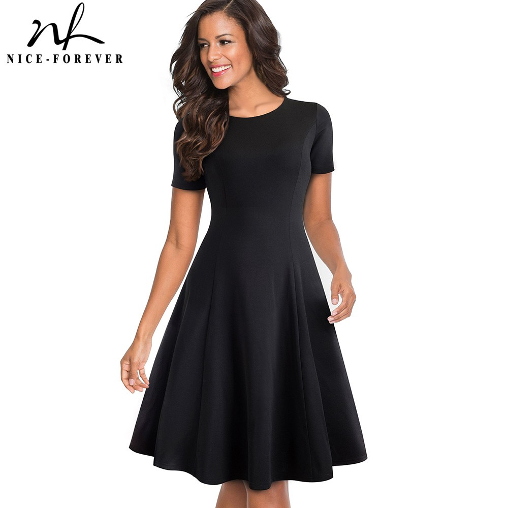 Nizza-für immer Vintage Elegante rundhals Kurze Reine Farbe vestidos A-Line Pinup Geschäfts Party Frauen Flare Schwarz Kleid A110