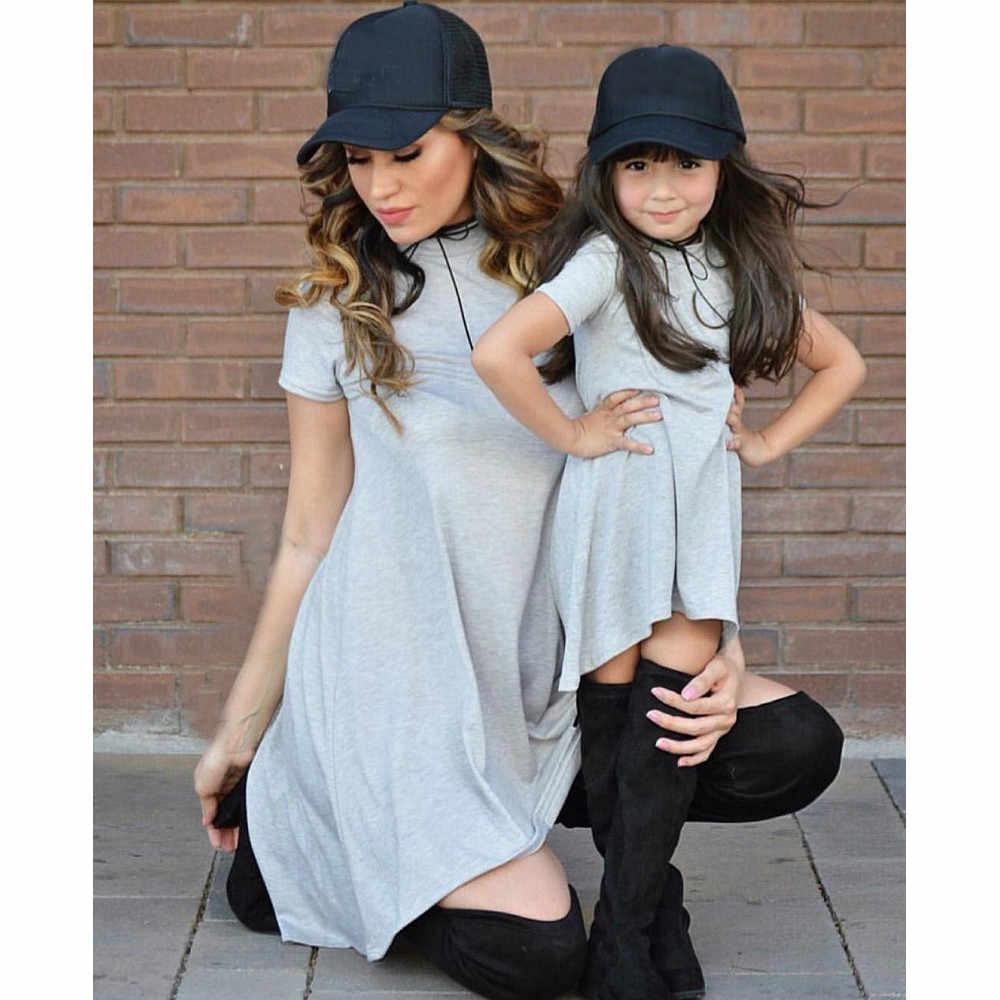 เสื้อยืดเด็กแม่ลูกสาวเด็กวัยหัดเดินเด็กทารกเด็กผู้หญิงไม่สม่ำเสมอชุดครอบครัวชุดเด็กเสื้อเสื้อผ้า
