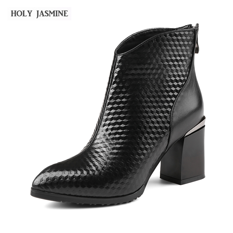 Hot sale Women Boots 2017 Square heel Pointed Toe Platform Shoes Buckle Autumn Winter Se ...