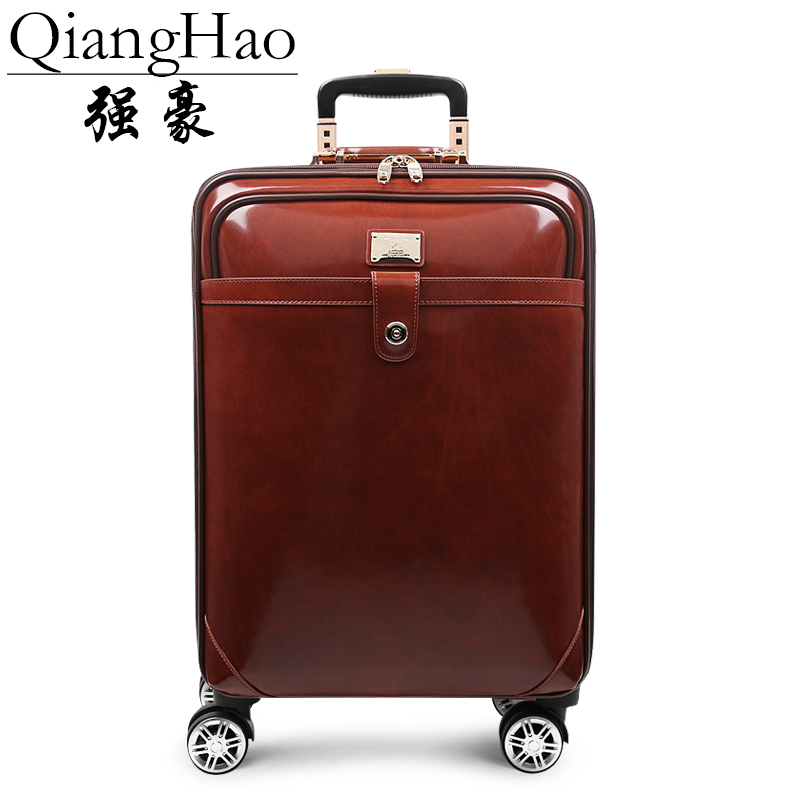 QiangHao 100 cow leather Travel Luggage Suitcase bag set Waterproof Box with Wheel 16 20 inch