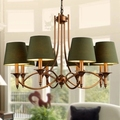 Американские бронзовые металлические светодиодные люстры  тканевые Оттенки для гостиной  светодиодные подвесные люстры  подвесные светил...