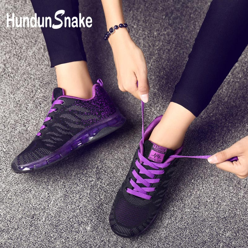 Hundunsnake Air Cushion Baskets Femme 2018 Summer Woman Sport Sneakers Mesh Chaussure Femme Sport Shoes Purple Krasovki Gym G-33