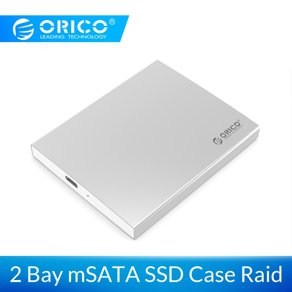 ORICO Aluminum Dual Bay Type-C MSATA SSD Case With RAID Function Support 10Gbps USB3.1 Gen2 USBC SSD Enclosure With C To C Cable
