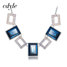 Cdyle Crystals From Swarovski Jewelry Austrian Rhinestone Paved Square Pendants Women Necklace Trendy Pendant Necklaces Colorful(China)
