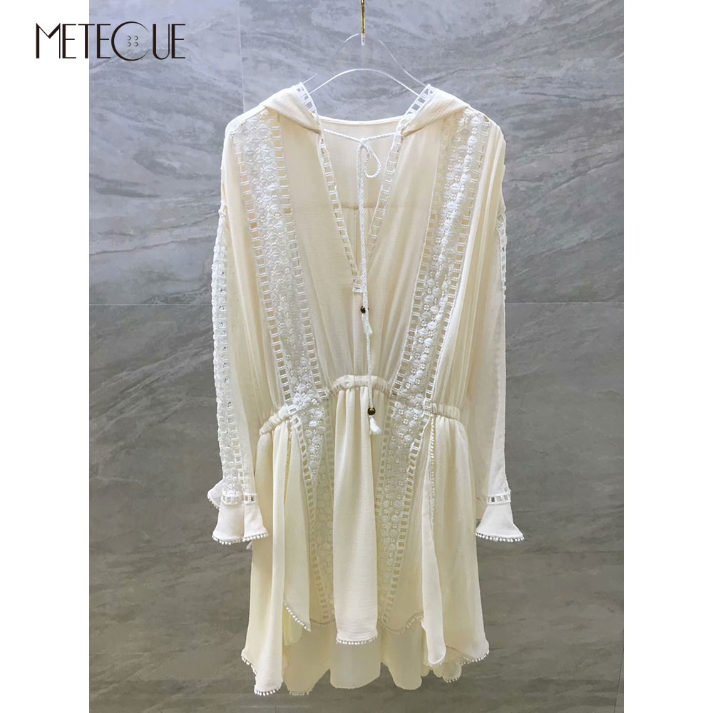 Lace Patched Hooded White Dress with Elastic Waist 2019 Pre Fall Fashion Long Sleeve Short Dress