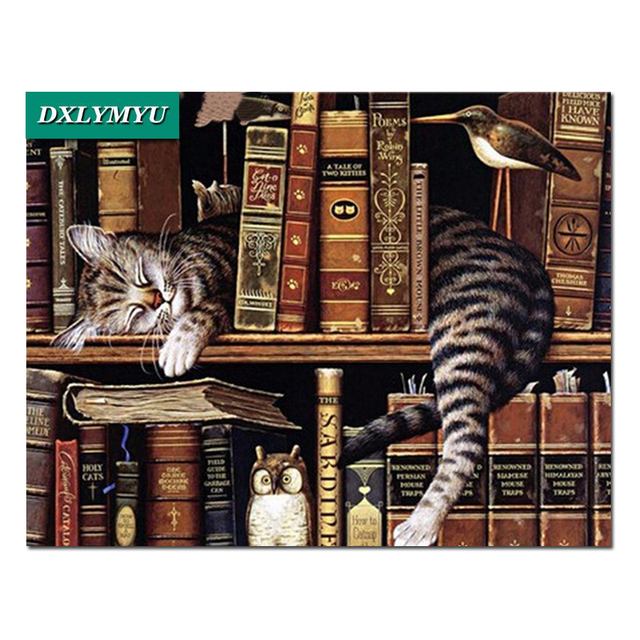 DIY Diamond Painting Bookshelf Sleeping CatIcon Full Embroidery Cross Stitch Rhinestone Mosaic