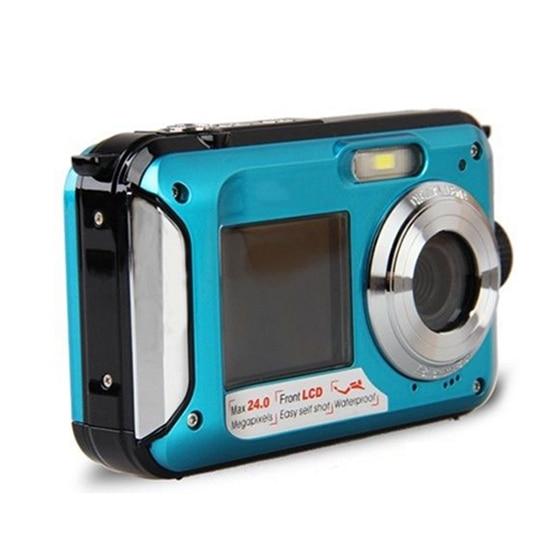 Double Screen HD 24MP Waterproof Digital Video Camera 1080P DV,Blue,Underwater цена