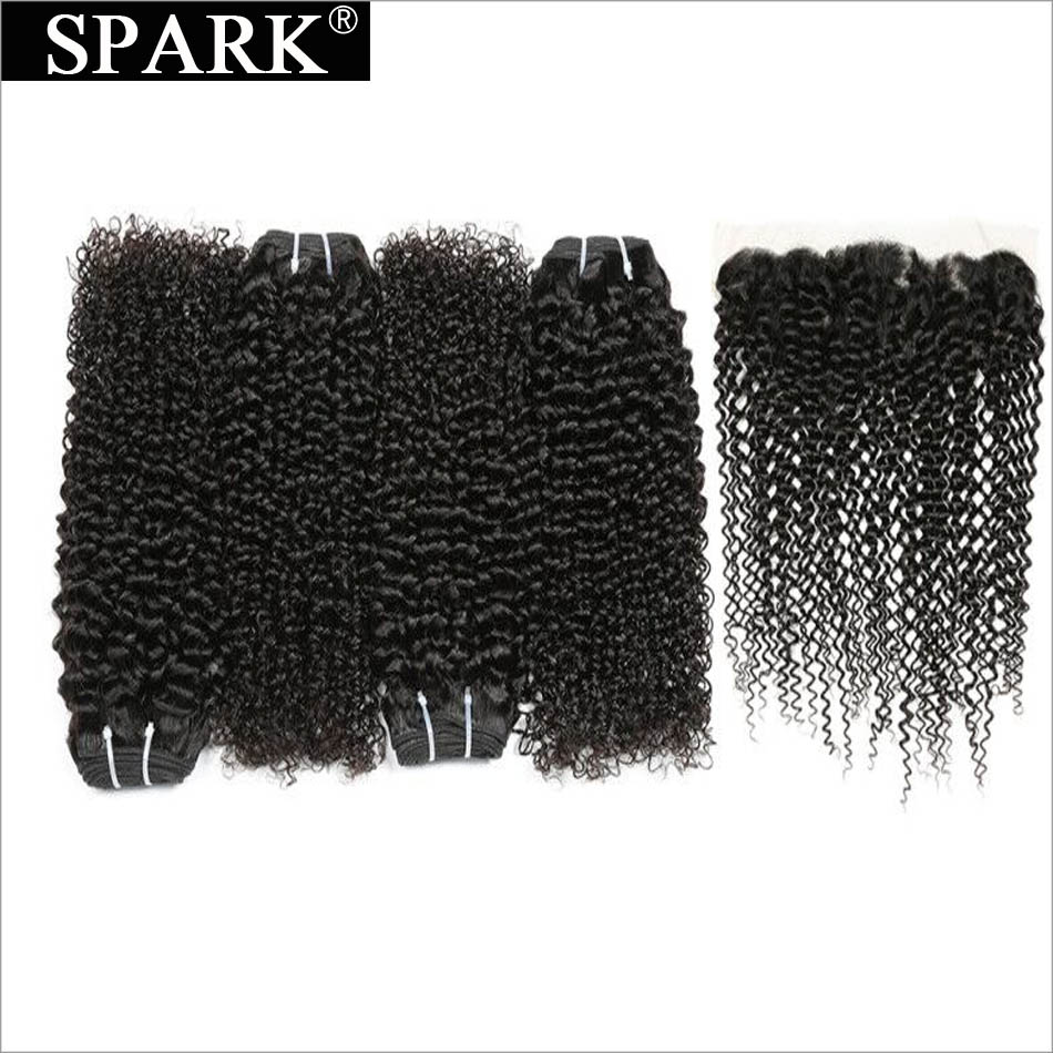 Spark Malaysian Kinky Curly Hair 13x4 Lace Frontal Closure with Bundles Remy Human Hair with Frontal Closure Free Part