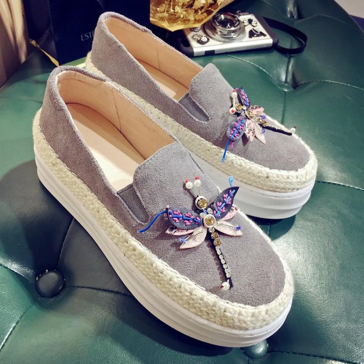 Big Size Women Platform Loafers Crystal Genuine Leather High Quality Pointed Toe Flats Shoes For Women Slipony Women Rhinestone  (35)