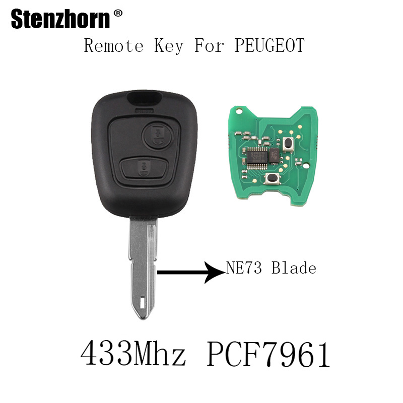 Stenzhorn 5pcs*2Buttons 433Mhz Remote Key For PEUGEOT 206 207 Complete Vehicle Key PCF7961 chip&NE73 blade