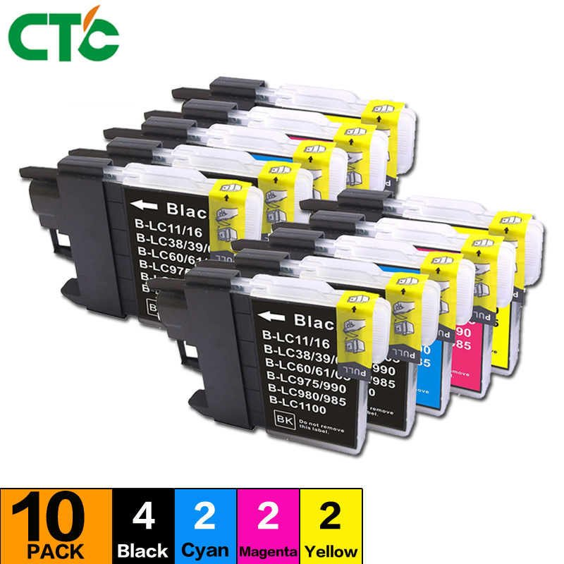 10PCS LC1100 ink cartridge Compatible For Brother MFC-250C 290C 490CW 790CW 990CW 5490CW 5890CN 6490CW 6890CDW