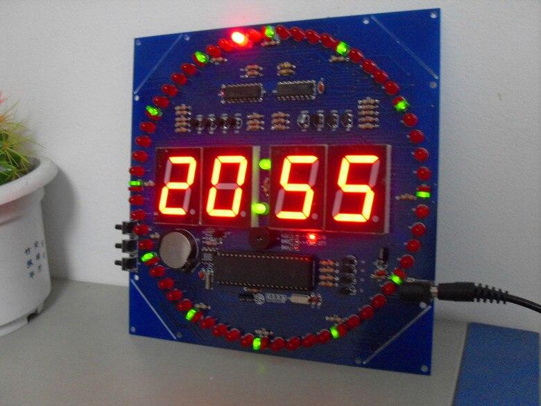 Электронный 2018 Новый MCU часы вращающийся зеленый светодиодный + красный цифровой трубка STC89C52 часы diy СВЕТОДИОДНЫЙ ПОВОРОТНЫЙ часы