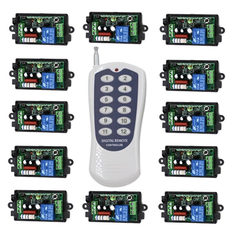 RF commutateur de télécommande sans fil 220 v 110 V système de commutateur d'alimentation 12 récepteur et 1 émetteur 12CH 10A lampe de lumière LED SMD 4023