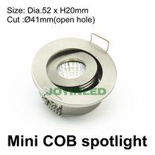 O envio gratuito de 40mm buraco redondo 3w regulável cob mini spot led downlight lâmpadas para casa interior