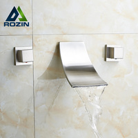 Luxury Wholesale And Retail Waterfall Basin Water Faucet Bathroom Two Handles Brushed Nickel Mixer Faucet Tap