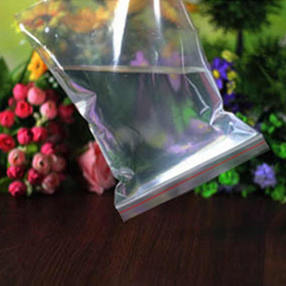 100Pcs Clear Bag Resealable Plastic Bags Red Grip Self Press Seal Resealable Zip Lock Plastic Packaging Bags Jewelry Pouch
