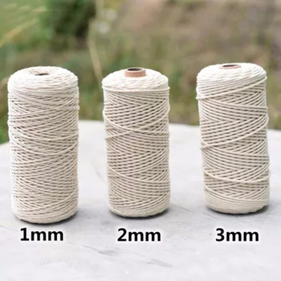 1 pz 1/2/3mm Diametro Cavo Ritorto 100% Cotone Naturale 200/400 M di Lunghezza Per Handmade del Mestiere di DIY Stringa Macrame Artisan